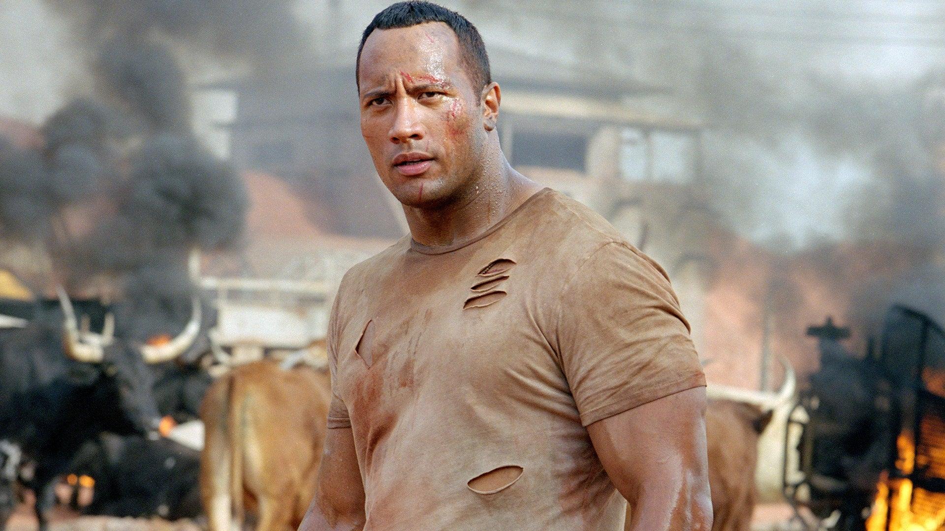 Dwayne Johnson at action scene