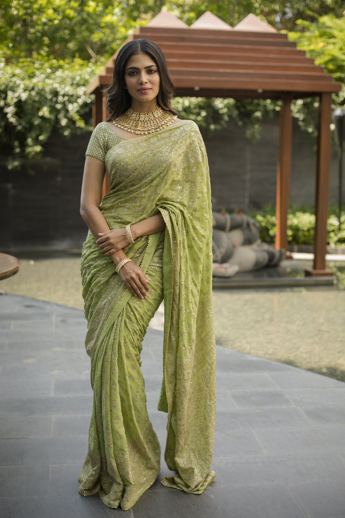 Malavika-Mohanan-in-Green-Saree