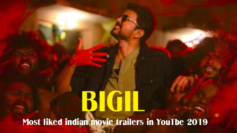 Most liked indian movie trailers in YouTube 2019