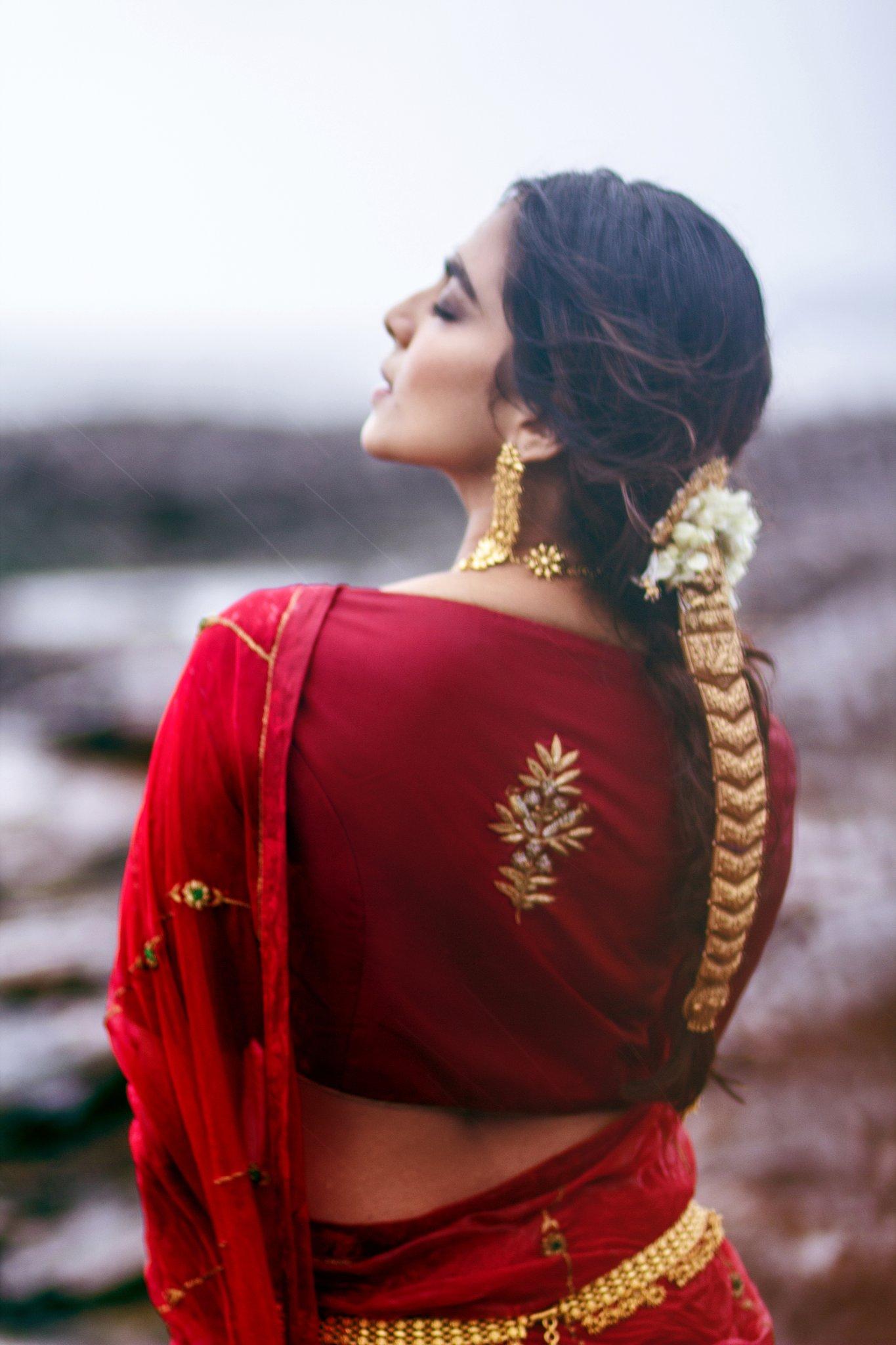 Malavika Mohanan Red Saree Photos